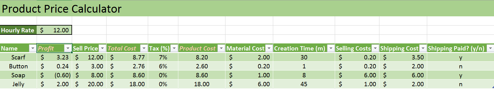 Product Management - Price Calculator